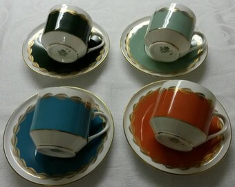 Four Aynsley Tea Cups and Saucers  circa 1950's    DR