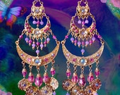 "Huge Exotic Gold & Pink Indian Princess Bridal Earrings, 6"" Long Hot Pink Crystal, Fantasy Jewelry, Large Gold or Silver Coin Gypsy Earrings"