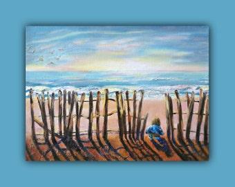 "Oil Painting Seascape, At the Beach New Discovery - Original Oil 10""X12"" birds, child, kid, beach, sunrise, ocean, sky, sunset, kid, light"