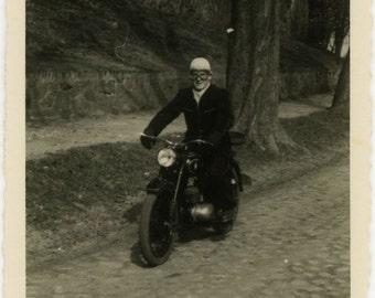 "Vintage Photo ""Ready to Race"" Man Riding Motorcycle Bike Snapshot Old Photo Black & White Photograph Found Paper Ephemera Vernacular - 119"