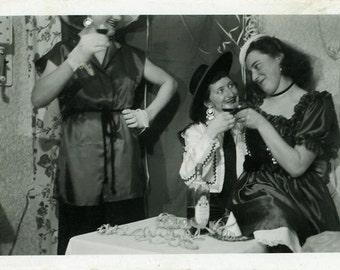 "Vintage Photo ""Halloween Night"" Snapshot Antique Photo Black & White Photograph Found Paper Ephemera Vernacular - 112"