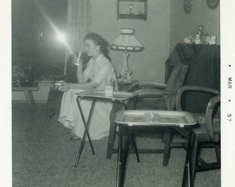 "Vintage Photo ""Quiet Night at Home"" Woman Drinking Smoking Snapshot Photo Antique Photo Black & White Photograph Found Paper Ephemera - 107"