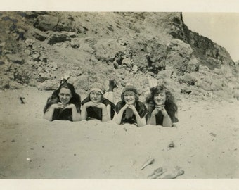 "Vintage Photo ""Beach Posers"" Girls Bathing Suit Snapshot Antique Photo Old Black & White Photograph Found Paper Ephemera Vernacular - 86"