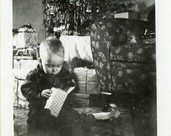 "Vintage Photo ""Santa's Surprise"" Christmas Snapshot Photo Old Antique Photo Black & White Photograph Found Paper Ephemera Vernacular - 91"