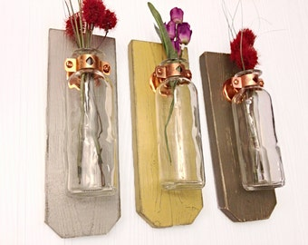 Shabby Chic Wall Sconce, Wall vase, Urban or  Country Cottage Decor, Hanging Flower Vase, Rustic Wedding Gift, Primitive wall sconce