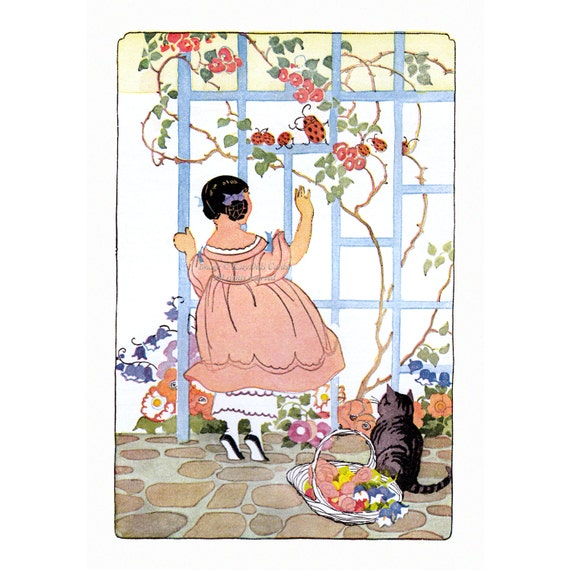 Ladybug Greeting Card - Girl and Cat in Garden - Vintage Style Notecard