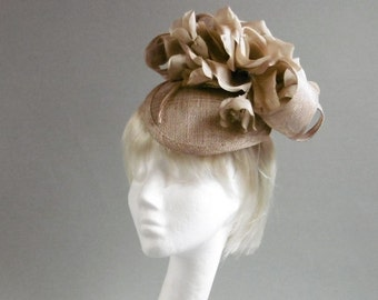 Dutch design gold creme fascinator  sinamay with flowers on aliceband