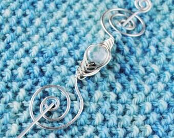 Aqua Shawl Pin in Silver