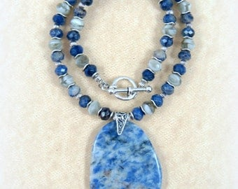 Blue Necklace, Sodalite Gemstone Pendant - Blue Pendant Necklace - Blue, Grey, White and Silver Necklace with Toggle Clasp