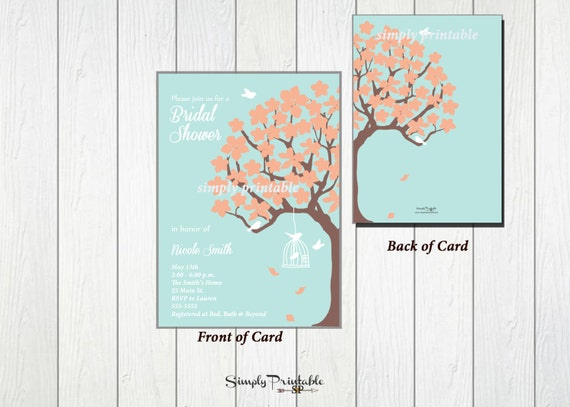 Bridal Shower Invitation, Coral Aqua Bridal Shower Invite, Modern Shower Invitation, Baby Shower Invitation, Printed Invites, Birthday