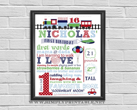 1st Birthday Poster, Trains Planes, Car Birthday Decor, First Bday Party, Printable Birthday Sign