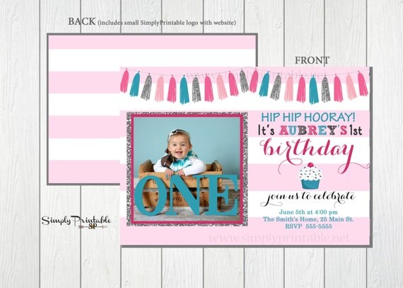 1st Birthday Invitation, Cupcake Birthday Invite,  Pink & Teal First Birthday