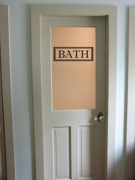 Bath vinyl decal bathroom glass door decal by ozavinylgraphics for Door vinyl design