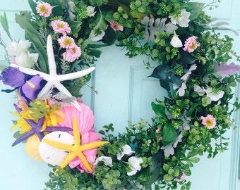Pastel Beach Wreath- Garden Wedding-Beach Wedding Decoration-Annie Gray-Starfish Decoration=Tropical Wreath-Cottage Chic-Iris Wreath