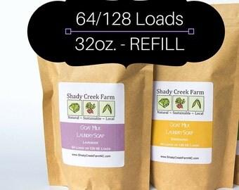 Laundry Soap REFILL - 64-128 Loads - goat milk laundry detergent, eco-friendly laundry soap, natural laundry powder Shady Creek Farm