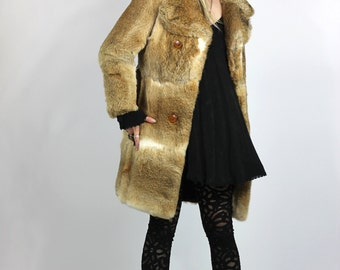 Like a Rolling Stone Fur Coat Luxe Belted Vintage 60s Fur Jacket
