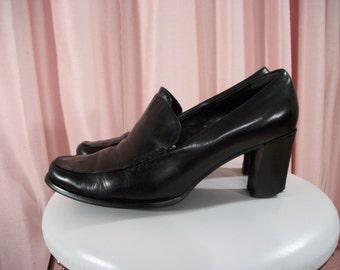 Franco Sarto Black Leather Pumps, 90s, sz 7