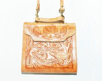 Vintage Tooled Leather  Bag, Natural Paraguay Leather Bag