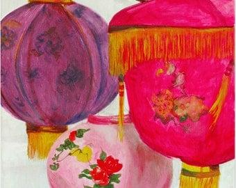 Winter Chinese Lanterns, Original Fine Art Acrylic Painting on Canvas / Boho Decor / Gypsy Decor / Hot Pink / Purple / Colorful