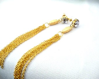 Post Chain Earrings, chain posts, chain Studs, gold chain, earrings, long tassel earrings, long chain earrings, long earrings, long gold