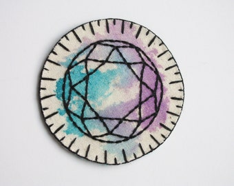 hand embroidered gemstone patch. diamond flourite crystal patch. purple and turquoise mixed media miniature embroidery, wearable art