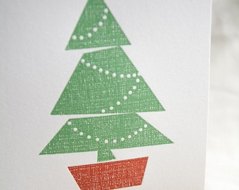 Potted Holiday Tree Letterpress Card