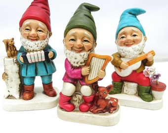 Vintage Gnome Statues, Garden Gnomes, Homco Figurines, Elf Figures, Troll Dolls – Red Green, Turquoise