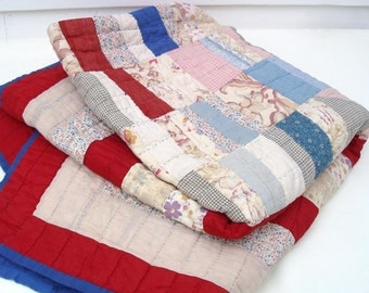 Antique Quilt | Patchwork Quilt | Scrap Coverlet | Americana Blanket | Red White Blue Prints