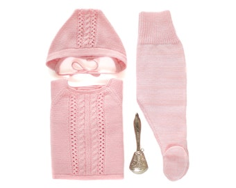 Knitted baby set. Sweater, cap and leotards. Pink. 100% merino wool. READY to SHIP size newborn.