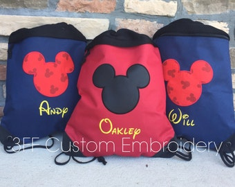 2 Pocket Canvas Drawstring Backpack Personalized Embroidered  MICKEY or MINNIE