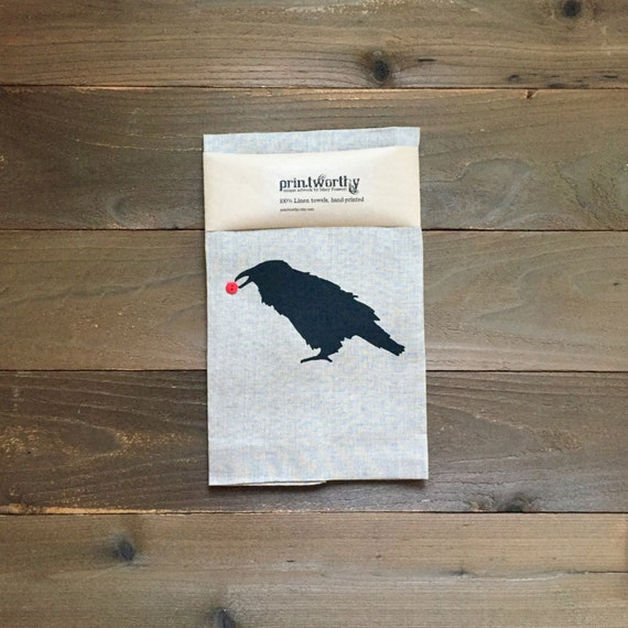 Tea Towel, Linen Dish Towel, Raven Crow Design, Screen Printed Kitchen Towel