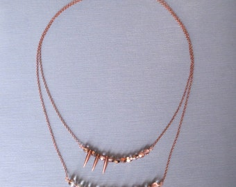 Harker - Copper Layered Spike Necklace with Faceted Glass; Two-Strand Asymmetric Style (Collier Asymmetrique en Cuivre) by InfinEight