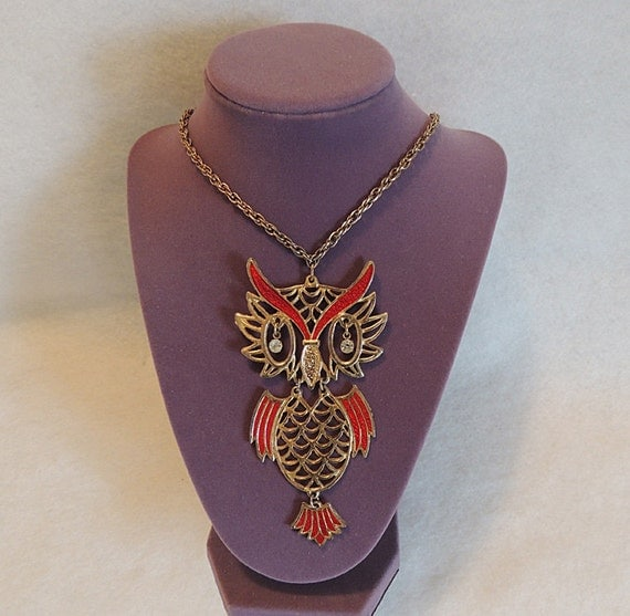 "Vintage Large 4.5"" Reticulated Owl Pendant Necklace Rhinestone Eyes & Enamel"