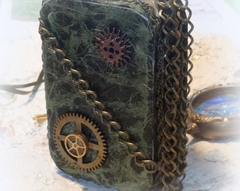 Credit Card Case, Steam Punk, Steampunk, Stash Box, Altered Altoid Tin, Change Purse, Cosplay Accessory, Custome Accessory Metal Wallet