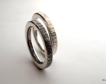 Pair of Silver Stacking Rings // Hammered silver rings // handmade hammered bands // wedding bands // gifts for her