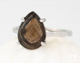 Smokey Quartz Ring Silver - Brown Stone Ring - Stacking Ring - Solitaire Silver Ring - Tear Drop Ring - Prong Ring