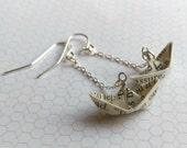 Literary Origami Boat Chain Earrings