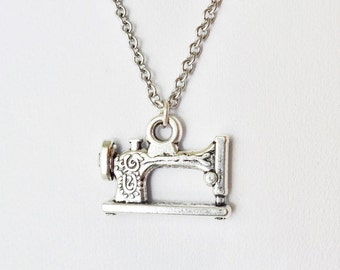 Sewing Machine Necklace, Sewing Necklace, Seamstress Gift, Tailor Gift, Silver Necklace, Mother's Day Gift, Gift For Mom, BFF, Best Friend