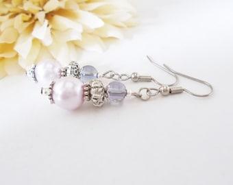 Lavender Earrings Sterling Silver Jewelry, Bridesmaids Gift, Spring Wedding Jewelry Clip On Earrings, Light Purple Earrings Bridal Handmade