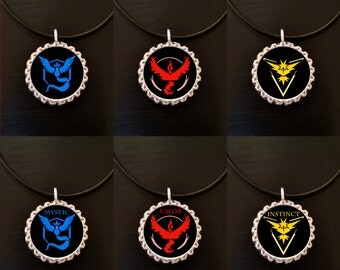Handmade POKEMON GO Resin Bottle Cap Necklace Leather or Chain Team Red Blue Yellow Mystic Valor Instinct