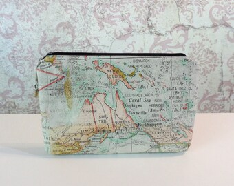 World Map Zipper Pouch // Cotton Organizer Travel Pouch