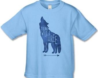 Woodland Animal Birthday Shirt - Young Wild and Three Birthday Tshirts - Personalized Birthday Tee - Wild Wolf Birthday Party - 3rd Birthday