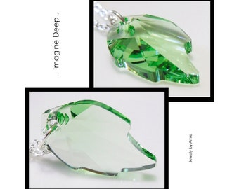 Green Crystal Leaf Necklace Silver Plated Light Green Peridot like Swarovski Crystal Birthstone Necklace 18 20 22 24 inch 50% off SPECIAL
