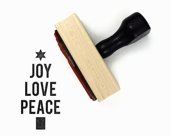 Bold Joy, Love, Peace Tree Rubber Stamp | Christmas Tree Minimal Text Holiday DIY Gift Stamp
