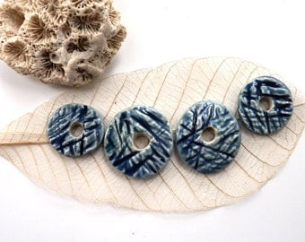 Ceramic connector beads ~ handmade stoneware washers, jewellery supplies, unique jewelry components, blue porcelain, rustic bead, boho beads