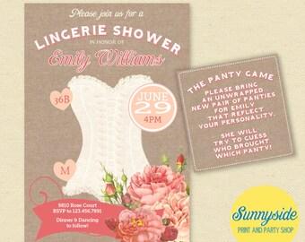Vintage Peach & Rose Lingerie Shower Invitation - Burlap Lingerie Shower Invite