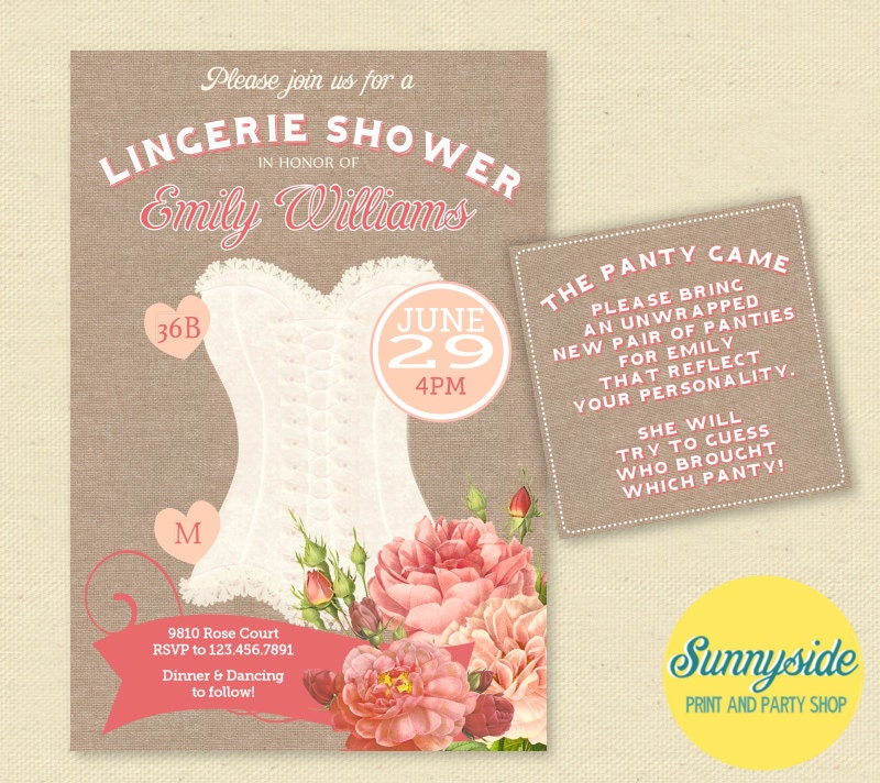 Vintage peach rose lingerie shower invitation burlap for Lingerie invitations