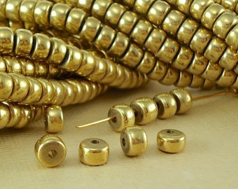 20 Brass Beads Rondelles Crow Disc Metal bead Spacer 6mm x 4mm BOHO Quality Solid Brass Natural Beads