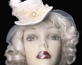 Ivory Lace Wedding Top Hat Fascinator Veiled Mini Victorian Steampunk Bride Pearl