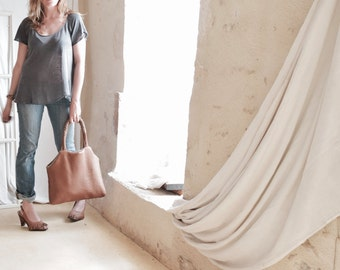 Leather Tote in Tan. Slouchy Soft -  Texture and Woven Shoulder Straps.  Beaded Tassel. Made to Order